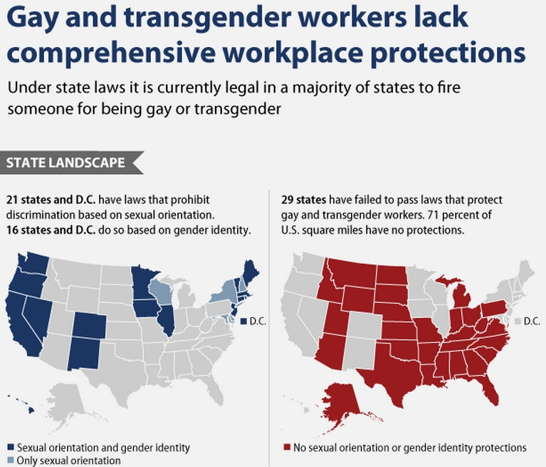 A map of states banning discrimination against transgender people